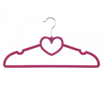 Вешалка велюровая Stenson Сердце R-85331 10 шт/уп 40 см розовая